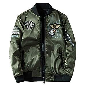 ジャケット 両面着 薄手 ブルゾン リバーシブル MA1 フライトジャケット ミリタリー ジャンパー ワッペン 刺繍 防風 防寒 防水 秋冬春 グリーン L
