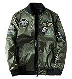 ジャケット 両面着 薄手 ブルゾン リバーシブル MA1 フライトジャケット ミリタリー ジャンパー ワッペン 刺繍 防風 防寒 防水 秋冬春 グリーン 2XL