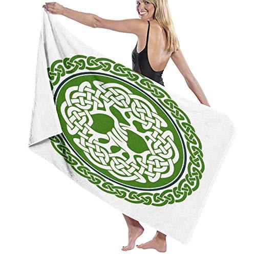 Toallas de baño,Árbol de la Vida Celta en un círculo Verde con...