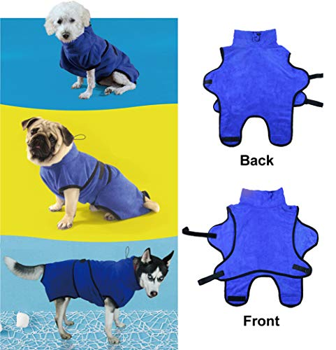 Rantow Small Medium Large Dogs Cats Bathrobe Pet Pajama - Super Absorbent Dog Bath Towel Soft Pet Nightwear with Waist Belt&Hood - Best in Grooming Traveling Kennel Cage (XL, Blue)