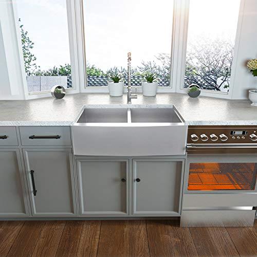 Double Farmhouse Sink - Kichae 33'x20' Kitchen Sink Apron Front 50/50 Stainless Steel 18 Gauge Double Bowl Farm Kitchen Sink