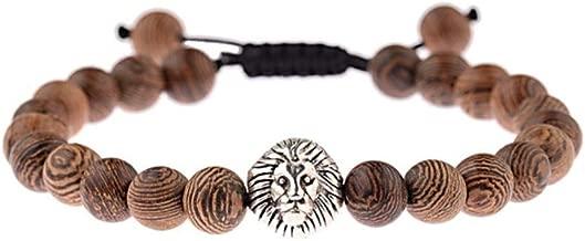 Vintage Helmet Prayer Wood Beads Braided Bracelet Men Black Stone Healing Balance Charm Chakra Bracelet For Women ABK040