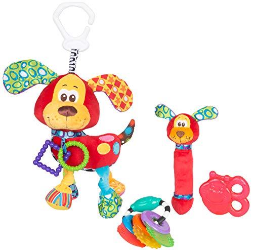 Playgro Spiel- und Beißring-Geschenkset Hündchen, 4-teilig, Ab 0 Monaten, Mehrfarbig, 40199