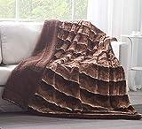 Tache 50 X 60 Inch Elegant Super Soft Warm Dark Golden Brown Faux Fur Sherpa Sofa Couch Lap Throw Blanket