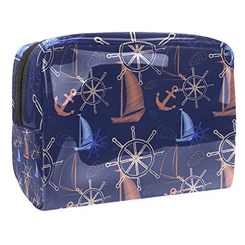 Bolsa de maquillaje de PVC con cremallera, bolsa de aseo impermeable con vela, brújula, ancla de barco, azul marino para mujeres y niñas
