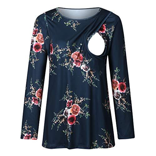 Dames moeder met lange mouwen stijltop dubbel verheven moederschap top borstvoeding bloemen patroon T-shirt tops Small donkerblauw