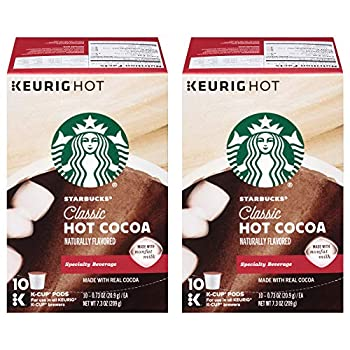 Starbucks Classic Hot Cocoa Naturally Flavored Made with Real Cocoa & Nonfat Milk 10 ct 0.73 oz K-Cup Pods  Pack of 2