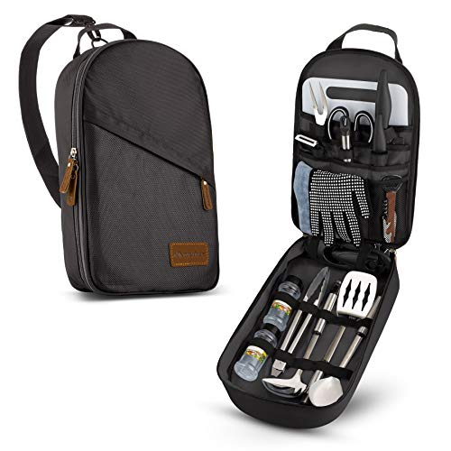 Camp Kitchen Cooking Utensil Set Travel Organizer Grill Accessories Portable Compact Gear for Backpacking BBQ Camping Hiking Travel Cookware Kit Water Resistant Case (Black 13 Piece Set)