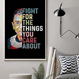 346831247 Vintage #Fight for The Things You Care About RBG Ruth Bader Ginsburg Quotes Poster Home Art Wall Art Posters Prints Livingroom Kitchen-Room No Frame (16x24)