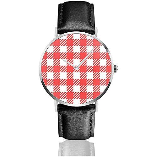 Red Picnic Table Cloth Plaid Gingham Abstract Men Sports Reloj de Pulsera...