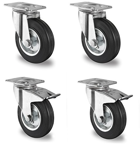 4 Stück Transportrollen lenkbar 125mm Gummibereifung Lenk/FS