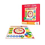 KingMade Clock & Calendar Wooden Board Game, Learning Clock, Preschool Toys, Gifts for Toddlers Boys and Girls 3 Year Olds +