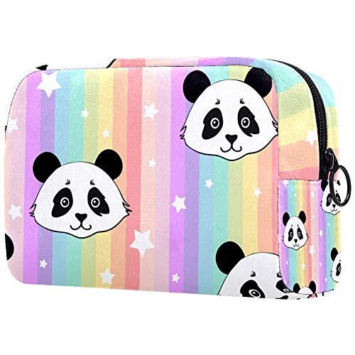 Trousse de toilette pour femme Motif panda et arc-en-ciel avec étoiles