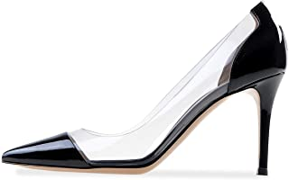 Sammitop Womens 100mm Pointed Toe Transparent High Heels Pumps Party Wedding Dress Shoes