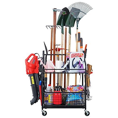 Mythinglogic Garden Tool Organizer for Garage-Yard Tool Racks with Wheels,Garage Organizers and Storage Hold Garden Tools, Shovels, Rakes, Brooms,Yard Tool Holder for Garage/Shed,Garden tool stand