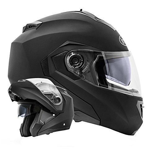 ATO Moto Motorradhelm Integralhelm Montreal Klapphelm Integralhelm Schwarz matt Größe XL 61cm mit Doppelvisier System mit Sonnenblende ECE 2205
