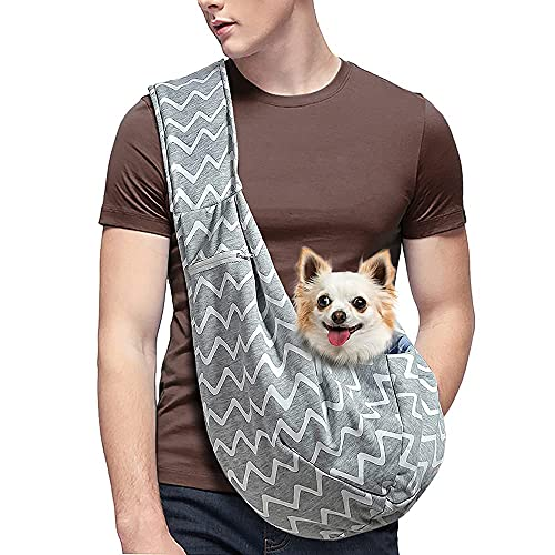 AOFOOK Small Dog Cat Sling Carrier Adjustable Shoulder Strap with Mesh Pocket for Outdoor Travel (M - Up to 10 lbs, Grey-Stripes)