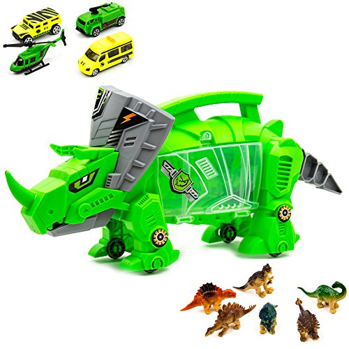 Toysery Dinosaur Toy Storage Carrier for Kids, Portable Jurassic World Toy Organizer with Built-in Carrying Handle and Wheels, Includes Mini Dinosaurs and Car Toys Inside for Toddler Boys and Girls