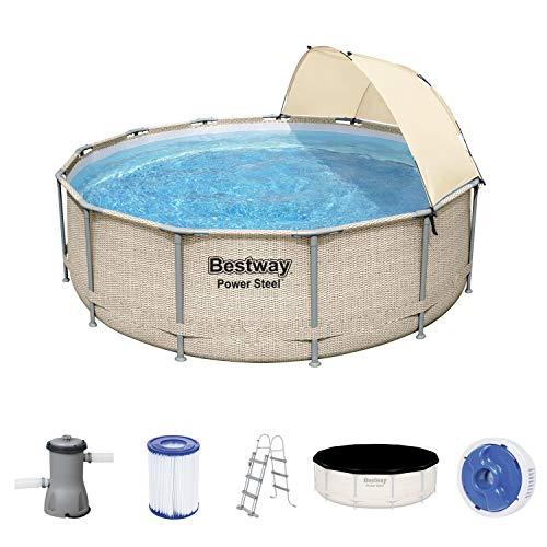 Bestway Power Steel Frame Pool, 396 x 107 cm, mit Sonnenschutz, Komplett-Set mit Filterpumpe, rund, beige Rattan-Optik