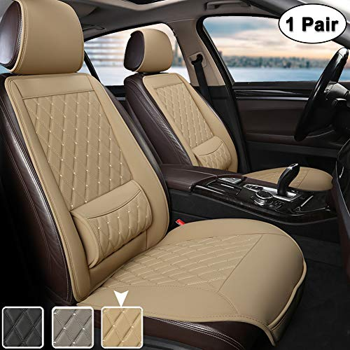 West Llama Universal Fit Auto Sitzauflagen, Autositzbezüge Vordersitze mit Lordosenstütze und Kopfstützenabdeckung, Diamant (1 Paar - Beige)