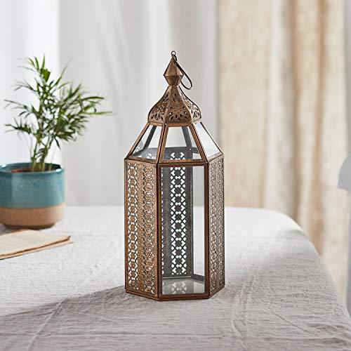 Lights4fun - Farolillo de Metal Artesanal en Estilo Marroquí para Uso en Interiores