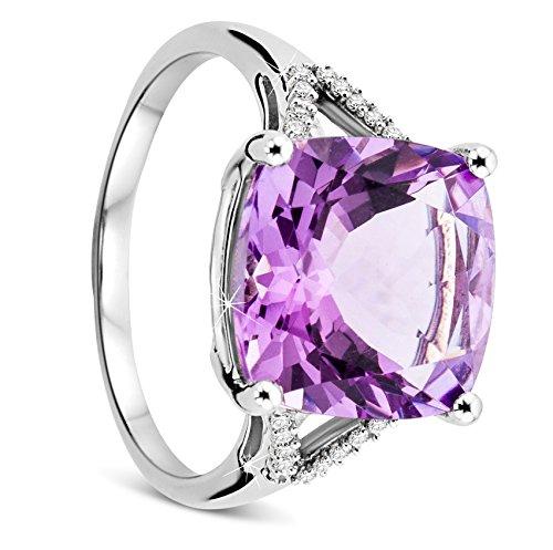 Orovi Damen Weißgold Verlobungsring Diamanten mit Amethyst Solitärring Diamantring 9 Karat (375) Brillianten 0.08carat Amethyst 5.8carat mit 20 Diamanten