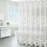 lulupila Duschvorhang PEVA Antischimmel Schimmelresistent Wasserdicht Anti-Bakteriell Wasserabweisend Polyester für Dusche Badewanne mit Duschvorhangringen (120 x 200 cm)