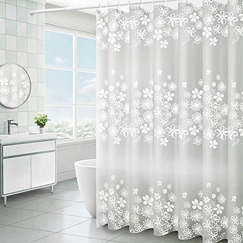 lulupila Tenda da doccia PEVA, antimuffa, impermeabile, antibatterica, impermeabile, in poliestere, per doccia, con anelli per tenda da doccia (120 x 200 cm)