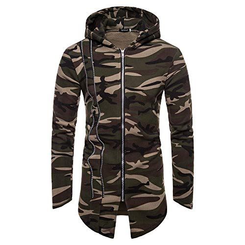 Why Should You Buy NEARTIME Men's Camouflage Hooded Trench Coat Jacket Open Front Cardigan Long Slee...