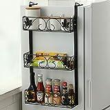 zyl Estante de Especias para Cocina refrigerador Tarro Estante para Hierbas Organizador de baño Lavadora Multiusos y Organizador de gabinete de Cocina Estante Lateral Negro A