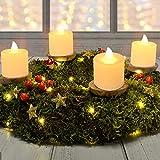 TOGETOP Velas eléctricasy LED ,Velas LED, 24 Velas de té LED, Sin Llama, Velas de té, Velas Eléctricas Parpadeantes para Navidad, Bodas, Pascua,Cumpleaños,Fiestas,Romántico Cena con Velas (Amarillo)
