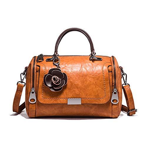Mn&Sue Barrel Style Handbags for Women Small Top Handle Satchel Crossbody Mini Barrel Purse (Brown)