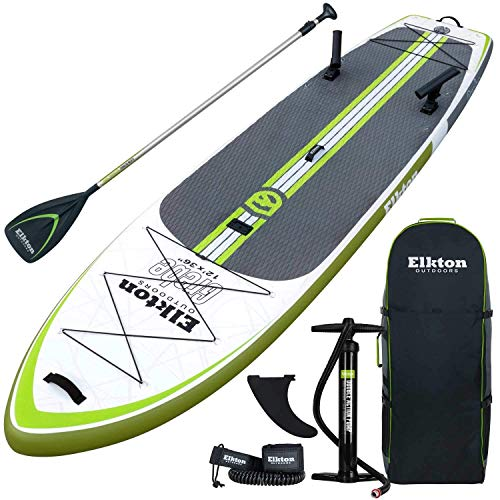 Elkton Outdoors Grebe Fishing Inflatable Paddle Board 12 ft Stand Up Fishing Paddle Board Package with Non-Slip Foam Deck, Fishing Rod Holders, Accessory Mounts, Carry Bag, Aluminum Paddle, High Pre