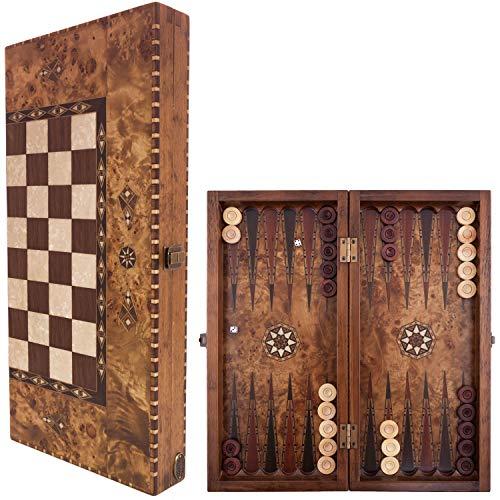Helena Wood Art Elegant Handmade Wooden Backgammon Set/ Mazel Veneer - 19.5 inch Board