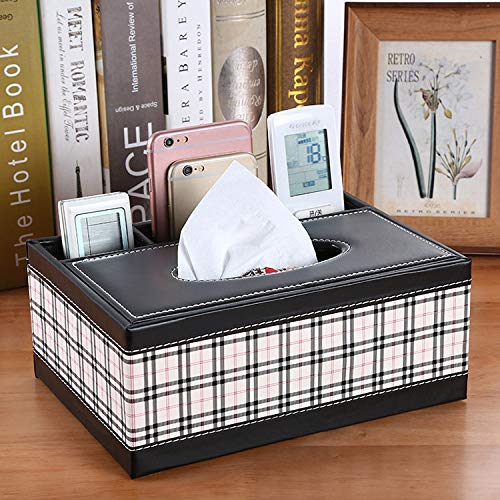 MIDUO Multifunction Leather Car Tissue Box Home Table Napkin Box Tissue Pumping Tray Storage Box,Black And White Grid - Level Four