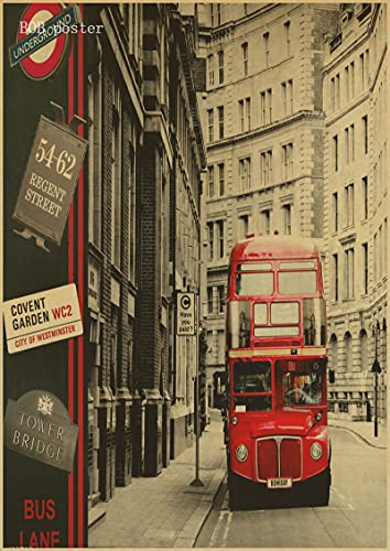 H/A Autobuses Rojos De Londres Y Cabinas Telefónicas Torre De Londres Pintura Retro Sin Marco Wallpapercafé-Bar Carteles Antiguos Decorados D1275 50X70Cm