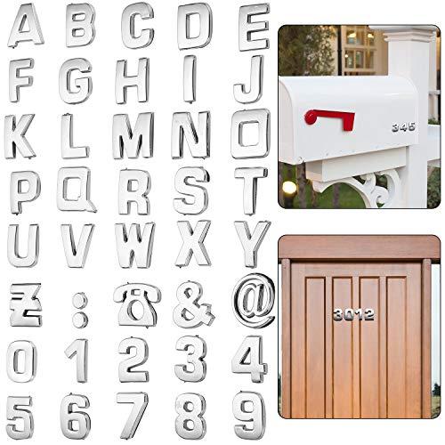 36 Pegatinas y Letras de Número de Buzón 3D 0-9 Pegatinas Autoadhesivas de Buzones de Alfabeto Simbolo Pegatinas de Direcciones de Calles Buzón de Metal de Casa para Puerta Buzón