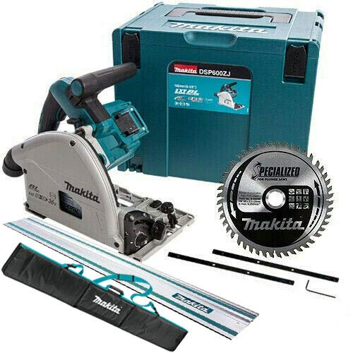 Makita DSP600ZJ 36V Brushless Plunge Saw with Guide Rail, Connector, Bag & Blade