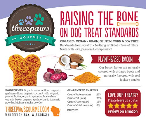 Coconut Bacon Bones, Hickory Smoked Gourmet Organic and Vegan Dog Treats - Gluten Free, Grain Free