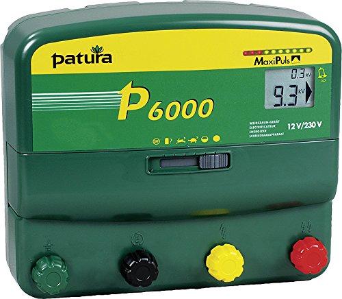Patura Weidezaungerät P 6000 MaxiPuls - 12 Volt/230 Volt - Herdenschutz, Lange Zäune, Bewuchs, schwer zu hütende Tiere - 10-stufige Zaun- und Batteriekontrolle
