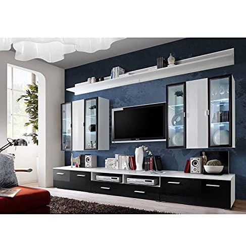 Ensemble TV - 4 éléments - Blanc et noir brillant