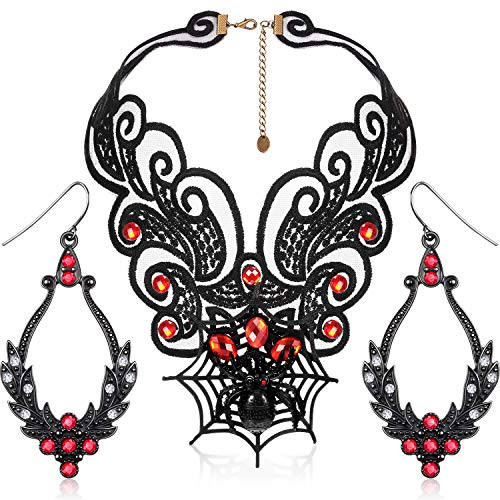 Vintage Spitze Spinnennetz Halsband Halskette Halloween Vintage Ohrringe für Frauen Mädchen Halloween Dekorationen Party Zubehör