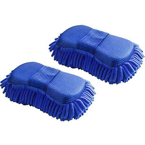 Lezed Mikrofaser Schwamm Autowäsche Auto Putzschwamm Autoschwamm Doppelseitiger Autowaschhandschuh mit eingebautem Handriemen fusselfrei, kratzfrei, trocken und nass Dual-Gebrauch Navy Blau, 2 Stück
