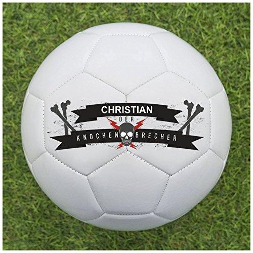 Fußball als Geschenk Personalisieren [Knochenbrecher] - Fußball selbst gestalten und mit eigenem Text oder Namen Bedrucken Lassen