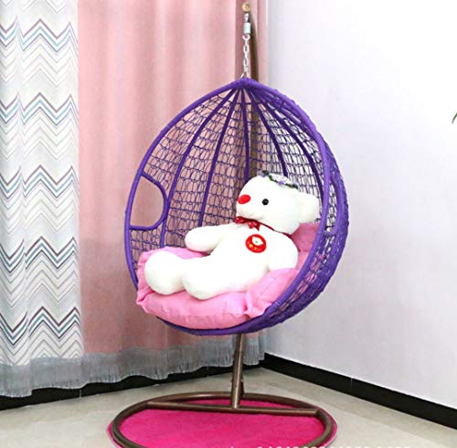 Afjyar Indoor leisure chair outdoor hanging basket wicker chair adult hanging chair swing single hanging blue chair balcony rocking chair purple