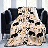 DIY Flannel Fleece Throw, 60' x 50', Welsh Corgi Tri Colored Coffee Lover Dog Corgis Cafe Latte Throw Blanket for Fall Living Room, Super Cozy Air Conditioning Blanket Comfy Easy Care