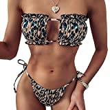 QIANGLI Bikini Brésilien Sexy Baignade Natation Thong Maillots de Bain pour Femmes Noir,Vert,L