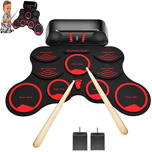 FXQIN Roll Up Drum Kit,Drum Elektronisches Schlagzeug Kit 10 Pads Tragbare Roll Up E-Drum Schlagzeug Set mit Eingebautem Lautsprecher Drum Fußpedal Drumsticks für Kinder Anfänger