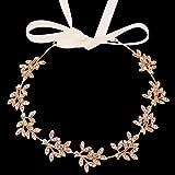BABEYOND Crystal Bridal Headband Headpiece Wedding Headpiece for Bride Wedding Bridal Hair Accessories with Ivory Satin Ribbon (Style-2-Rose Gold)
