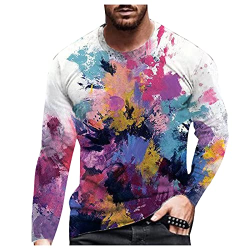 Tops for Men Colorful 3D Printed Long Sleeve Fashion Round Neck Blouse Tee Autumn Casual Slim Fit Lightweight T-Shirts (01 Purple, XL)